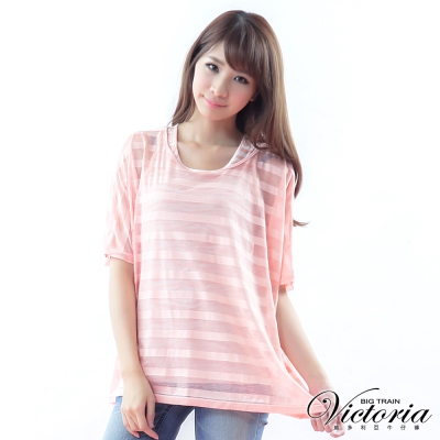 Victoria 兩件式燒花條紋TEE-女-粉橘