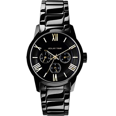 RELAX TIME RT65 羅馬情人日曆腕錶-金時標x黑/38mm
