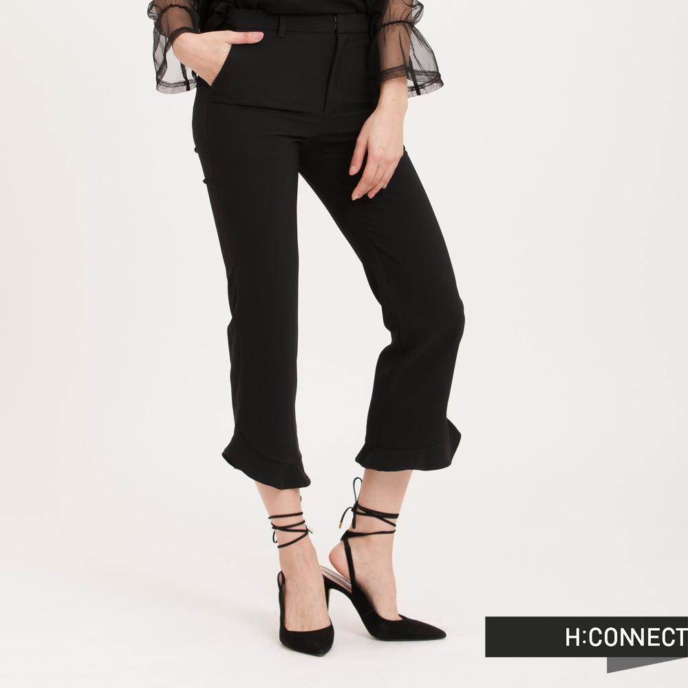H:CONNECT 韓國品牌 女裝 - 純色荷葉擺西裝褲 - 黑