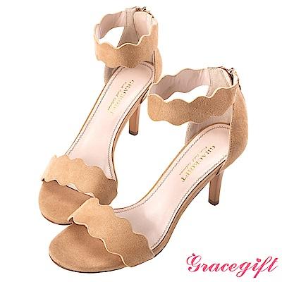 Grace gift-花邊一字踝帶細高跟涼鞋 駝