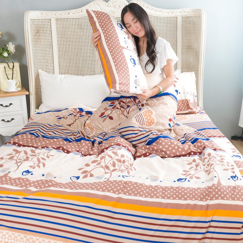 吸濕排汗系列SG 使用3M藥劑處理細緻柔絲綿 雙人床罩兩用被四件組 秋森曲調