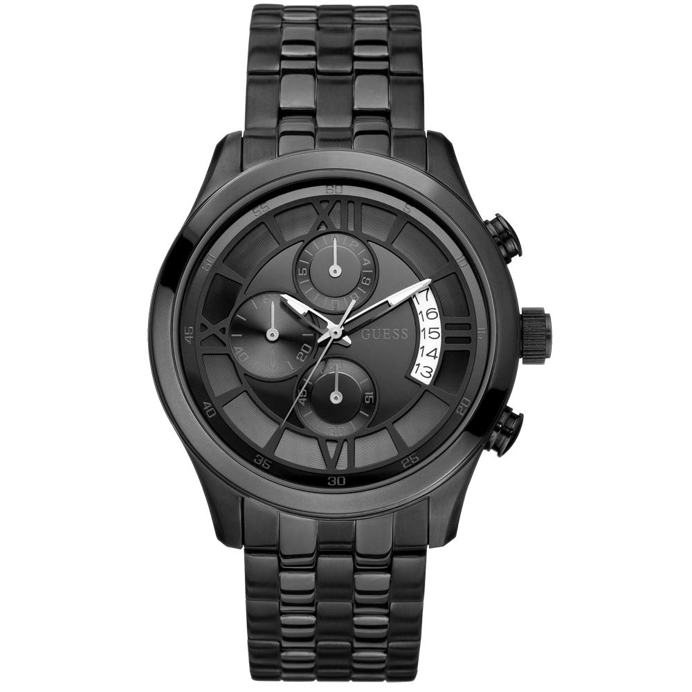 GUESS 黑色潮流三眼計時腕錶-IP黑/45mm
