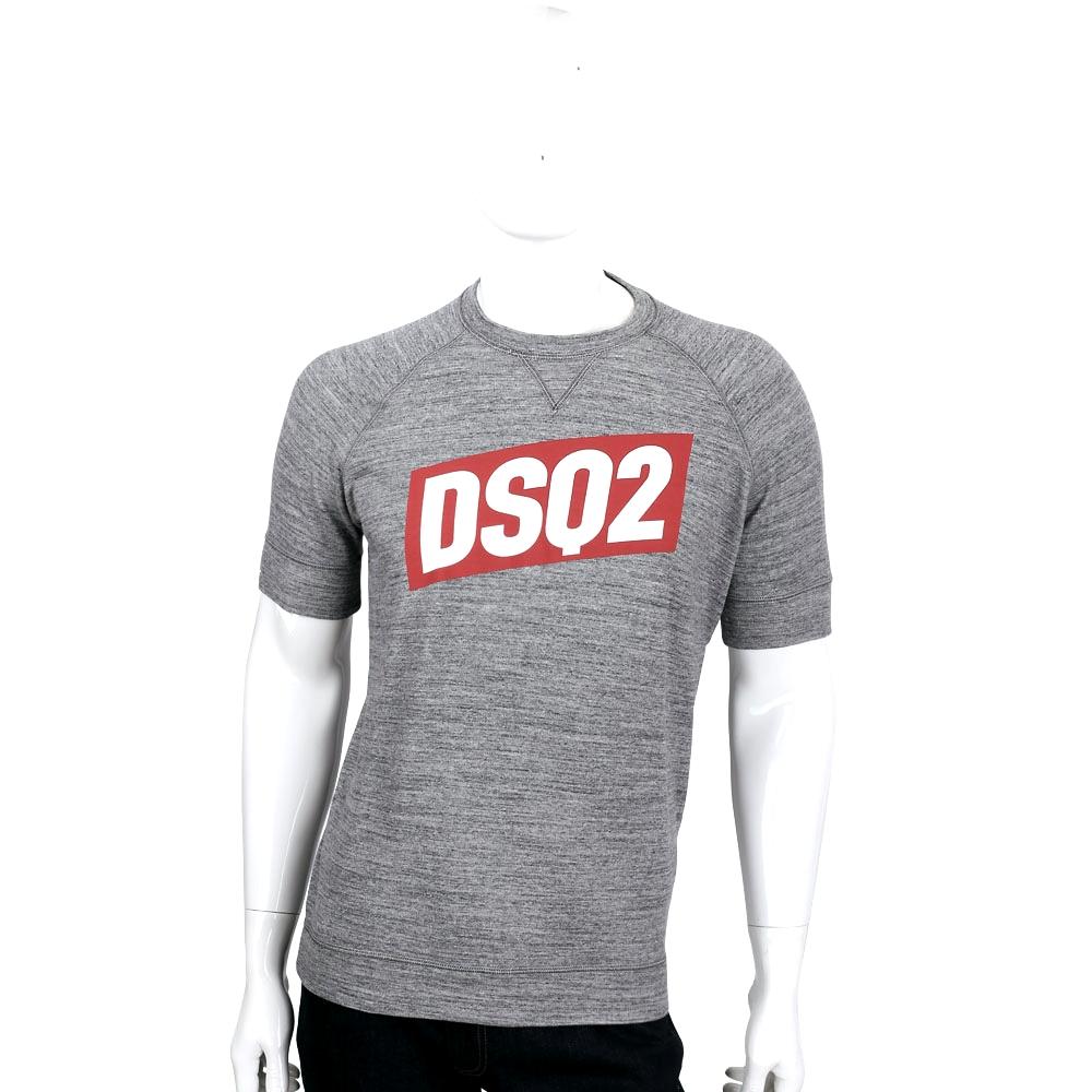 DSQUARED2 灰色撞色LOGO圖騰設計棉質短袖T恤