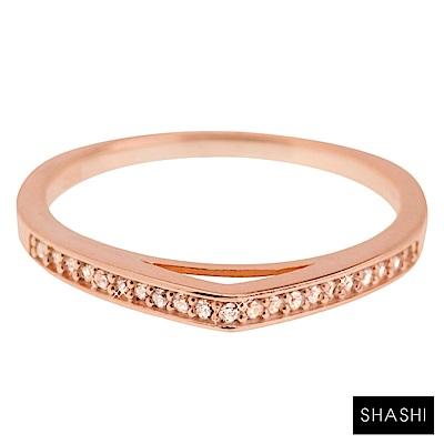 SHASHI 紐約品牌 Dagger 鑲鑽水滴戒指 925純銀鑲18K玫瑰金