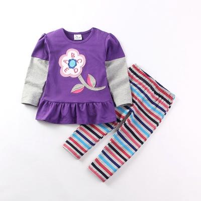 女童 甜美可愛花朵假兩件長袖套裝(衣+褲)