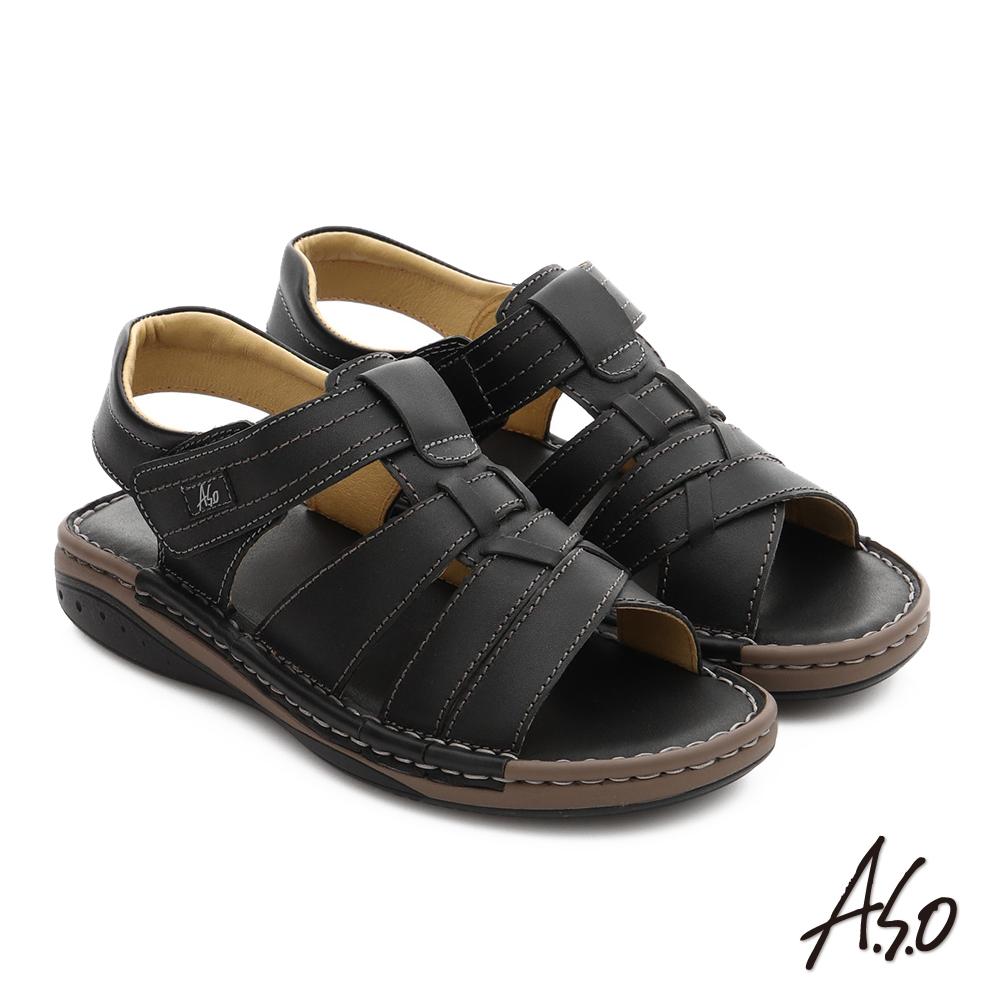 A.S.O 手縫氣墊鞋 真皮寬楦魔鬼氈休閒男涼鞋 黑色