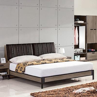 品家居 美加6尺皮革雙人加大床架組合(不含床墊)-181.8x213x92cm免組