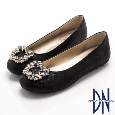 DN 宮廷華麗 璀璨寶石鑽飾平底豆豆鞋-黑