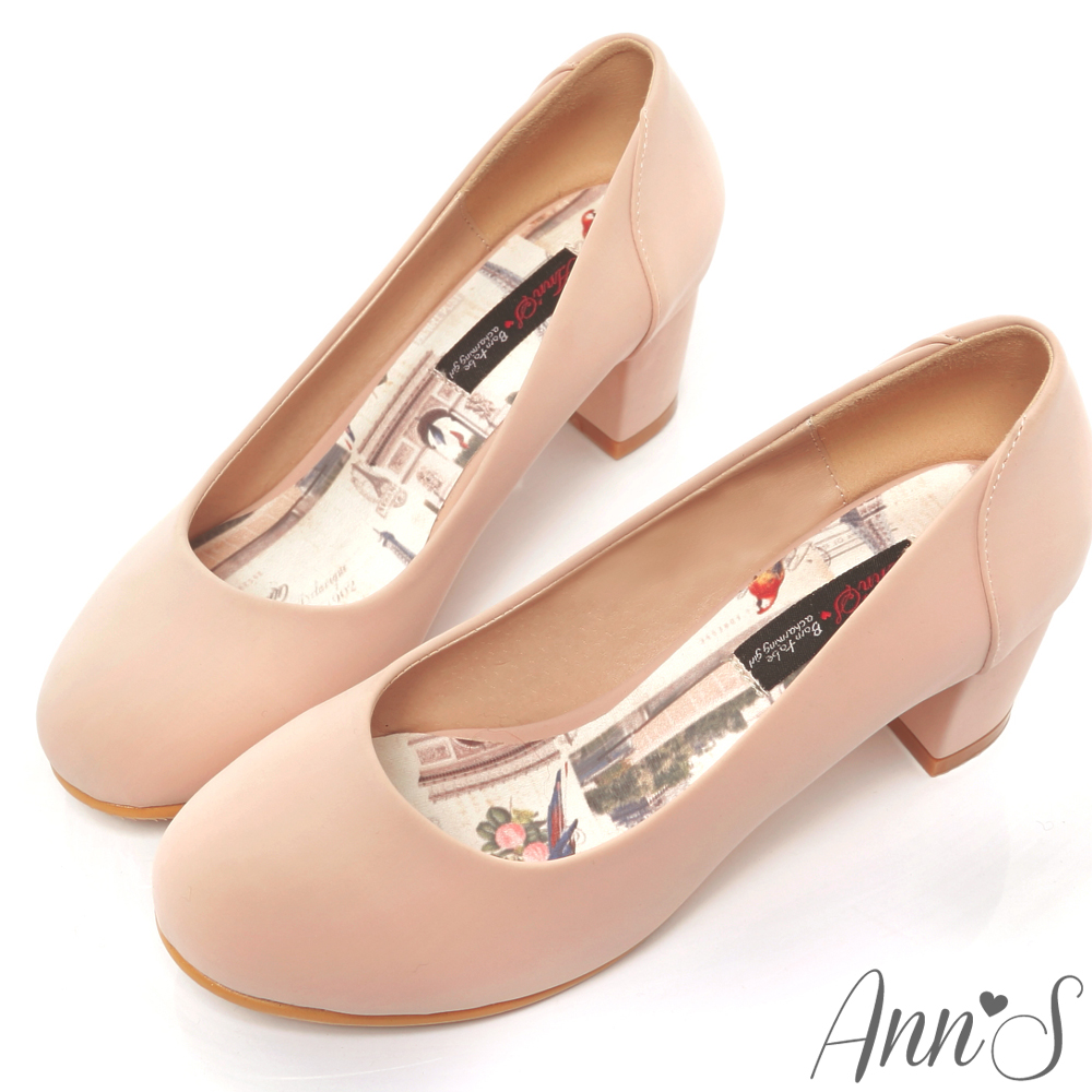 Ann'S柔美氣質-細柔觸感巴黎粗跟包鞋 粉