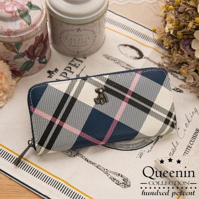 DF-Queenin皮夾-蘇格蘭風情格紋系小熊長夾