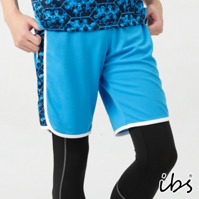 ibs搶眼迷彩科技轉印剪接吸排短褲-男-湛藍