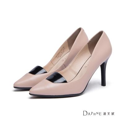 達芙妮DAPHNE-高跟鞋-撞色拼接平口尖頭鞋-杏