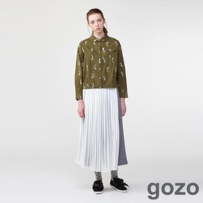 gozo雙重印象派雪紡百褶寬褲-動態show