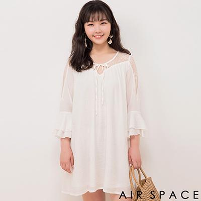 AIR SPACE PLUS 綁帶荷領荷葉袖雪紡洋裝(白)