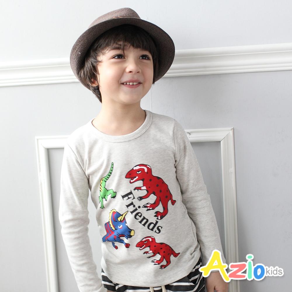 Azio Kids-上衣 彩色恐龍印花圓領長袖棉T(灰)