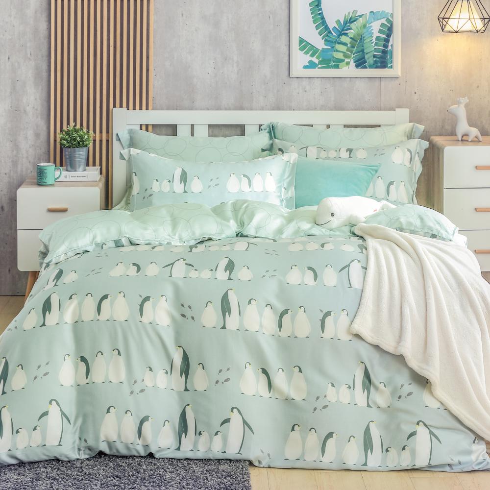 鴻宇HongYew 300織天絲 企鵝嘉年華 雙人加大四件式兩用被床包組
