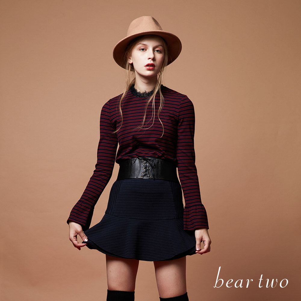 beartwo 簡約層疊波浪感條紋壓摺布料短裙(二色)