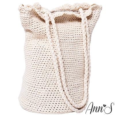 Ann'S森林女孩-手工編織滾花邊肩背水桶包-米