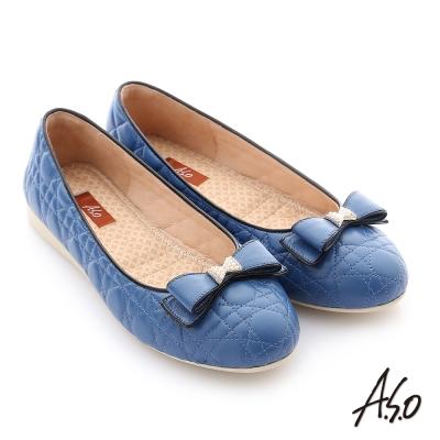 A.S.O 彈力舒芙 綿羊皮蝴蝶結平底鞋 藍色