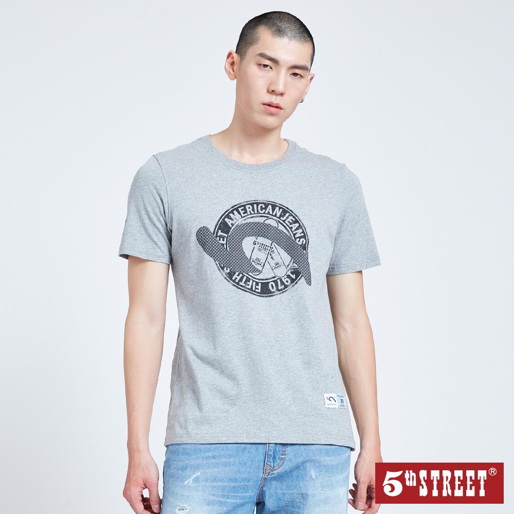 5th STREET 滑板袋花短袖T恤-男-麻灰