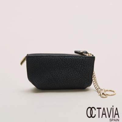 OCTAVIA 真皮 - 紙船兒 隨身梯型鑰匙零錢包 - 黑皮黑