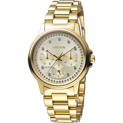 CITIZEN  純靜之美光動能時尚腕錶(FD2042-51P)-金色/38mm
