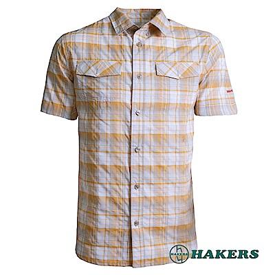 【HAKERS 】男-短袖格紋襯衫-黃橘色
