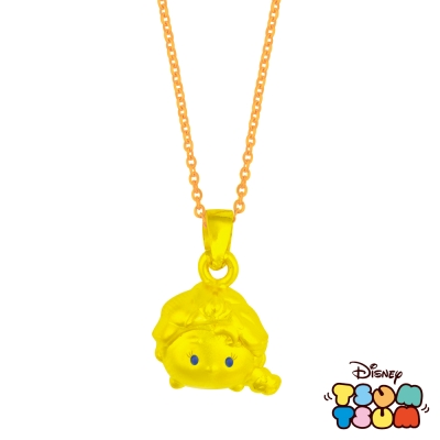Disney迪士尼TSUM TSUM系列金飾-黃金墜子-艾莎款 送玫瑰鋼項鍊