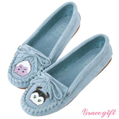 Disney collection by grace gift全真皮經典流蘇莫卡辛鞋 淺藍