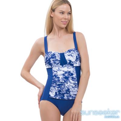 澳洲Sunseeker泳裝機能型小腹剋星漸層連身式泳衣-藍花