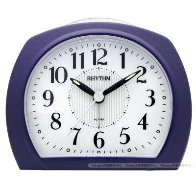RHYTHM日本麗聲 早晨時光粉彩LED夜光鬧鐘-藍莓紫/11cm