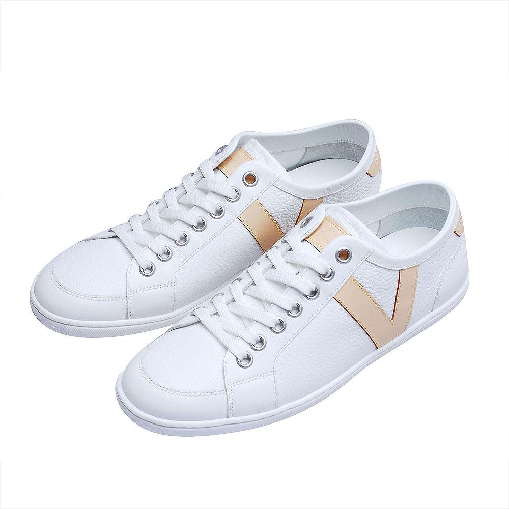 LV GO1102 V字型皮革飾邊綁帶休閒鞋(白-6.5)