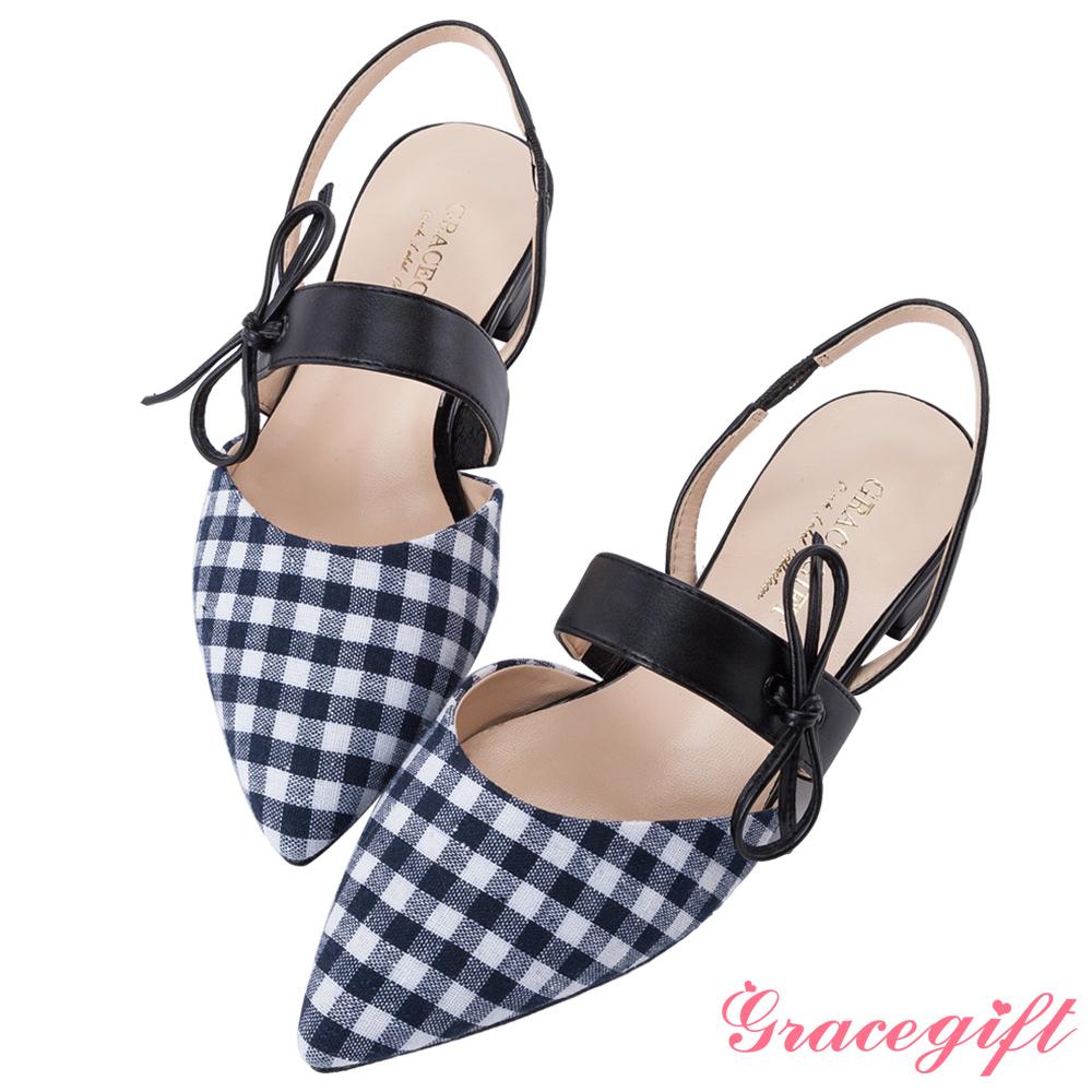 Grace gift-綁結條帶後縷空尖頭平底鞋 藍白格
