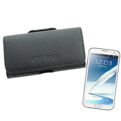 City boss Samsung Note2/N7000 等真皮橫式腰掛保護皮...