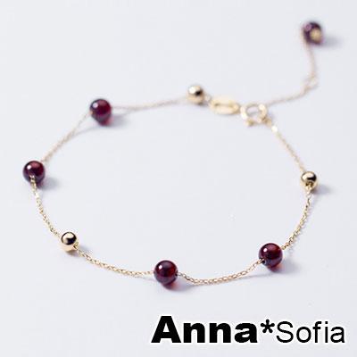 【3件5折】AnnaSofia 巧蜜紅石榴石 925純銀手環手鍊(金系)
