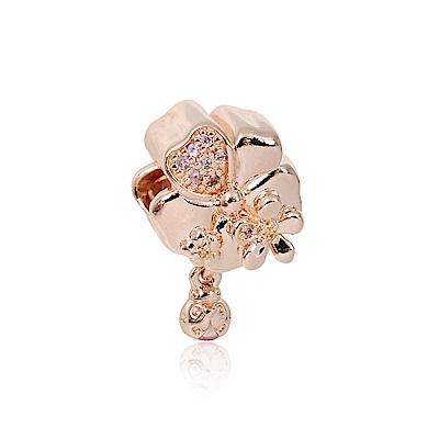 Pandora 潘朵拉 花園小瓢蟲鑲鋯 玫瑰金 垂墜純銀墜飾 串珠