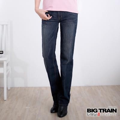 BIG TRAIN-女款 波紋金魚女垮褲-中藍