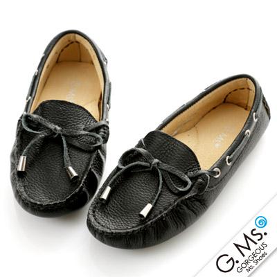 G.Ms. 童鞋-全真皮蝴蝶結休閒鞋- 寵愛黑