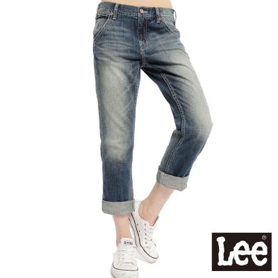 Lee 牛仔褲401 中腰標準直筒7分-女款(中藍)