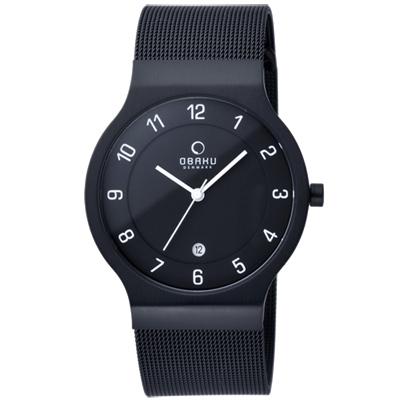 OBAKU 極簡時代數字米蘭腕錶-全黑/38mm