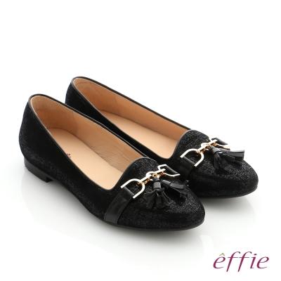 effie 個性美型 真皮鍊條流蘇奈米低跟鞋 黑色