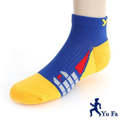 YuFa裕發 抗菌消臭環護足弓<b>1</b>/4運動襪(藍黃)
