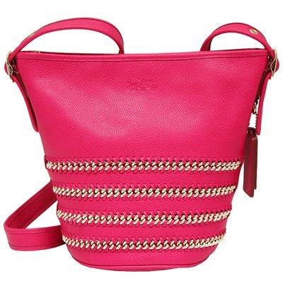 COACH DUFFLE 系列鍊條編織皮革斜背水桶包-桃紅