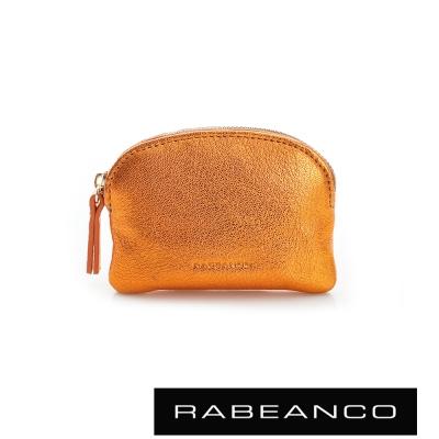 RABEANCO 迷色彩羊皮系列亮彩拉鍊零錢包  橙色