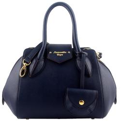 Samantha Thavasa 藍色防刮皮革鵝卵型斜背/手提包