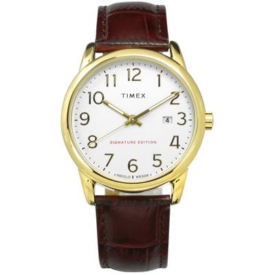 TIMEX 天美時 專利冷光照明 數字時標 日期 真皮手錶-白x金框x咖啡/38mm