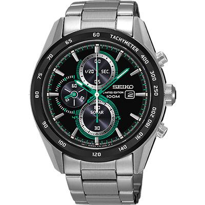 SEIKO Criteria限量炫彩太陽能計時錶(SSC413P1)-黑x綠指針/43mm