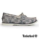 Timberland 女款灰色水彩圖樣帆布帆船鞋
