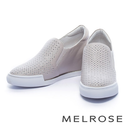 休閒鞋-MELROSE-沖孔排鑽全真皮內增高厚底休閒鞋-米