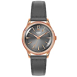 Henry London 優雅晶鑽真皮手錶-灰/34mm